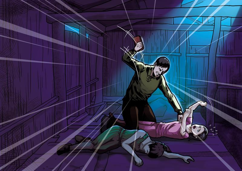 陳昆明勒斃姊妹花的姊姊後,見妹妹還在掙扎,竟拿起磚頭重擊妹妹頭部。(圖為示意畫面)