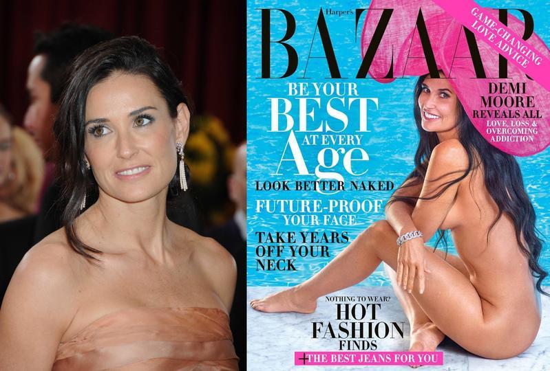 黛咪摩爾以56歲好身材全裸登上時尚雜誌封面。(左圖東方IC,右圖翻攝自黛咪摩爾IG)