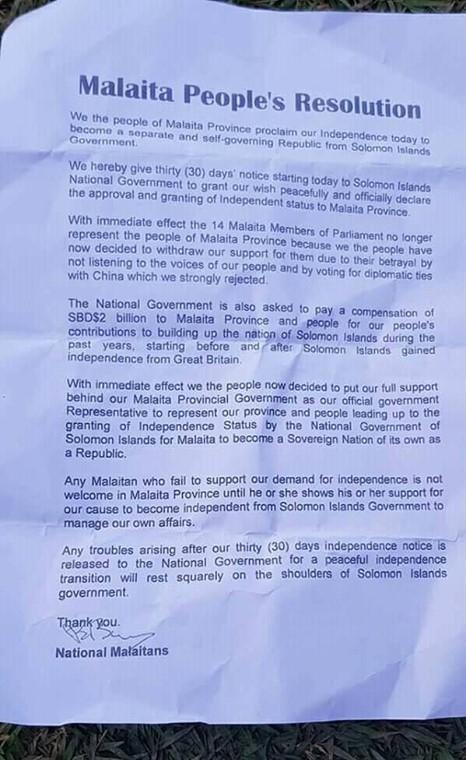 索羅門政府決定與台灣斷交,引發索國民眾不滿,今天傳出該國最大省馬萊塔有意獨立。(翻攝自Phillip Maesubua臉書)