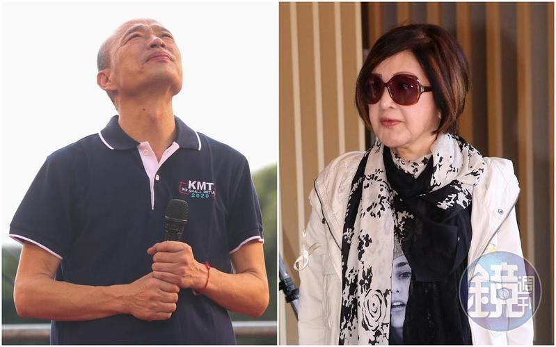 超級郭粉恬娃(右)上政論節目時,斷言韓國瑜(左)絕對選不上總統,更在國民黨文傳會副主委面前嗆聲,若韓當選「我頭剁下來當椅子坐」。(本刊資料照)