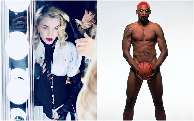 NBA前球星「籃板王」羅德曼(Dennis Rodman,右)接受電台節目,大爆瑪丹娜(左)當年如讓她懷孕可得2,000萬美元(約台幣6億元)酬勞。(翻攝自瑪丹娜IG/羅德曼IG)