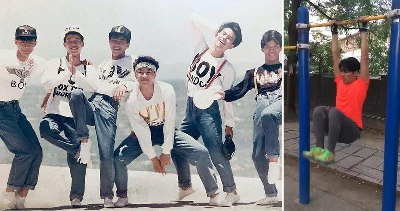 王海輪(左圖左3)闊別演藝圈18年,近來為復出音樂會勤跑戶外健身(右圖)。(翻攝自紅孩兒臉書/讀者提供)