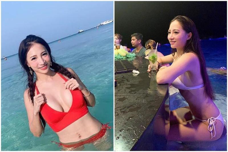 「蛇姬」林采緹日前到菲律賓長灘島度假,在海邊解放好身材,在泳池酒吧穿上粉色比基尼。(翻攝自林采緹臉書)