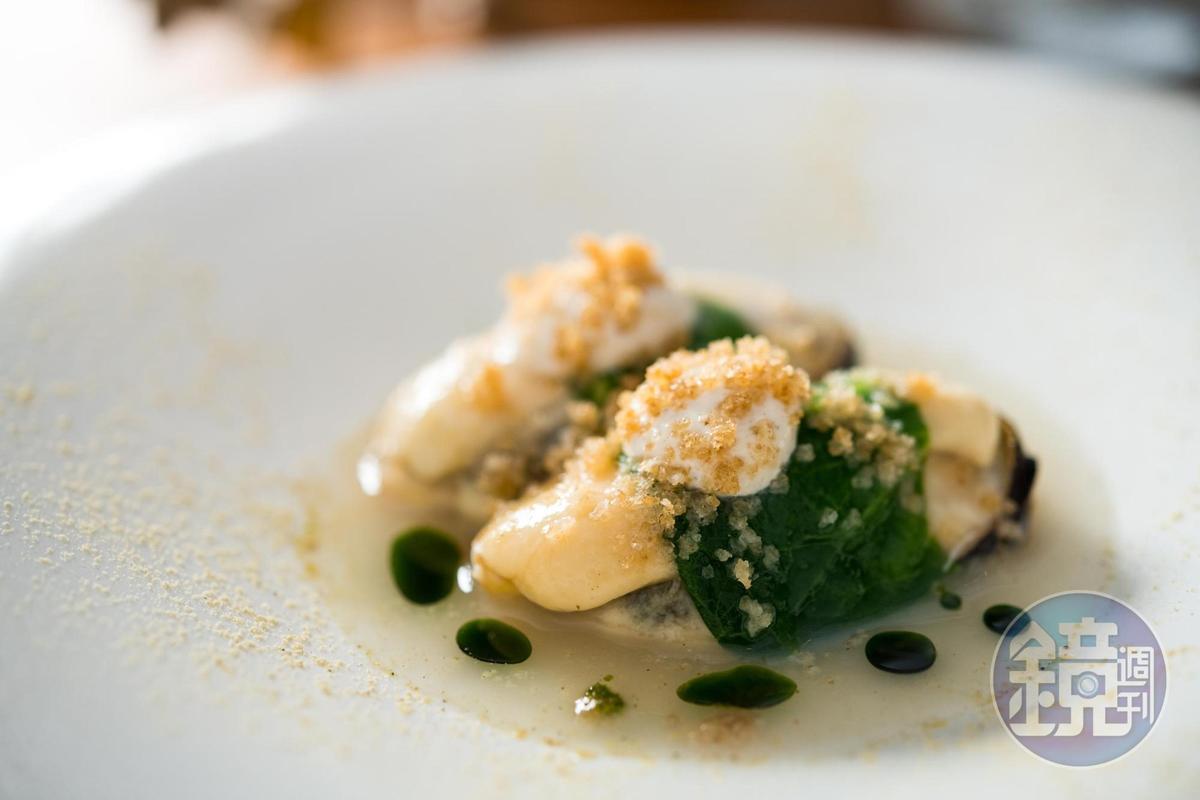 「淡菜」料理從醬汁到粉末都使用淡菜製作。(1,500元套餐菜色)