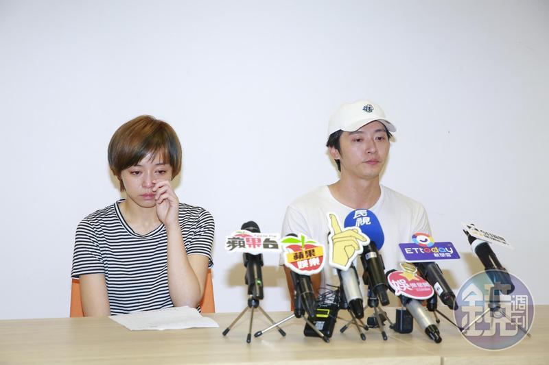 馬俊麟(右)與王瞳(左)為昨夜「侵門踏戶」風波開記者會澄清。