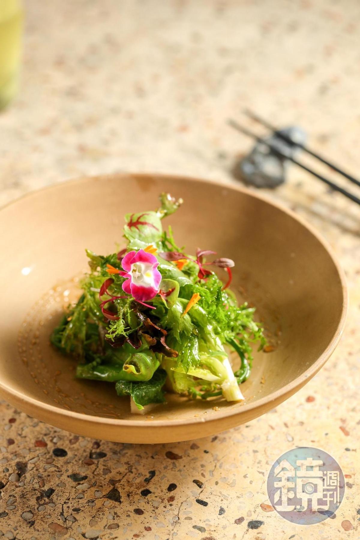 龍鬚菜、山蘇、大社綠竹筍再佐焦糖烏梅醋的沙拉,食用花與台灣農場合作。