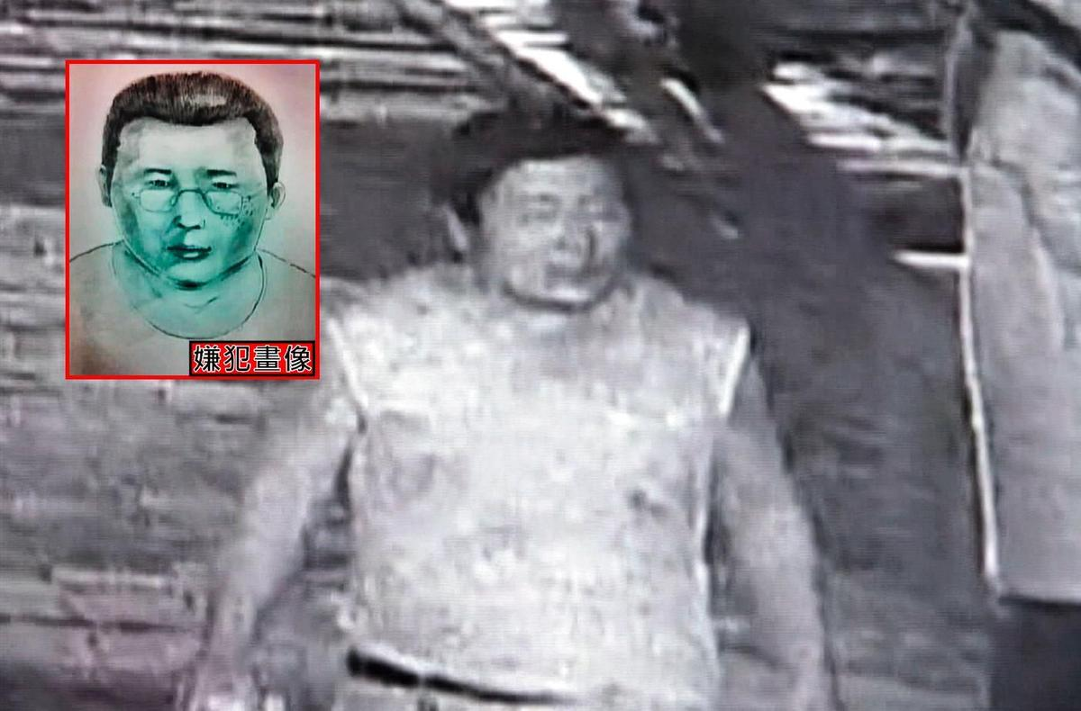 警方調閱監視器,查出一名穿白色背心的壯碩男子涉有重嫌,亦公布嫌犯畫像(上圖),請全民協助緝凶。(翻攝畫面)