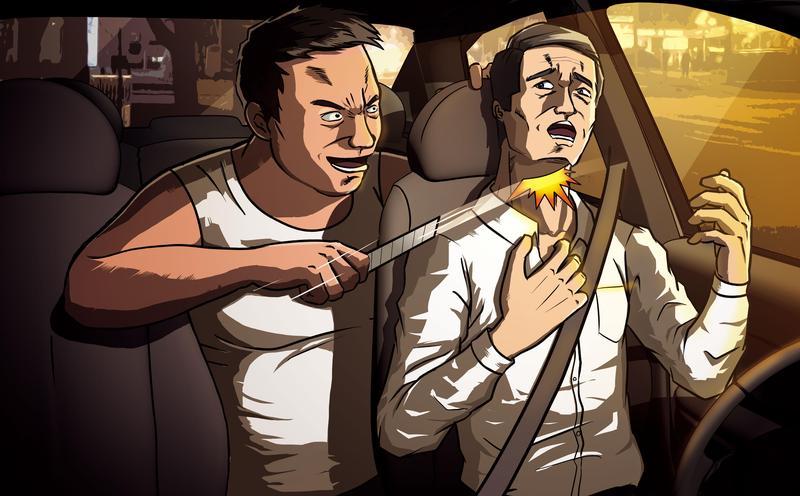 凶手蔡維琦(左)持美工刀,對計程車司機方明田(右)割喉。