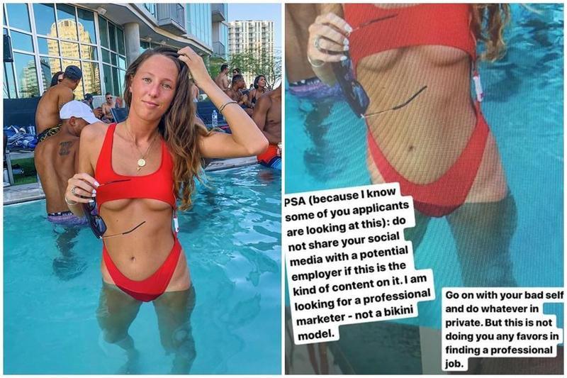 24歲Emily Clow的比基尼照,被應徵的公司惡意截圖還PO上網。(翻攝自Emily Clow推特與IG)