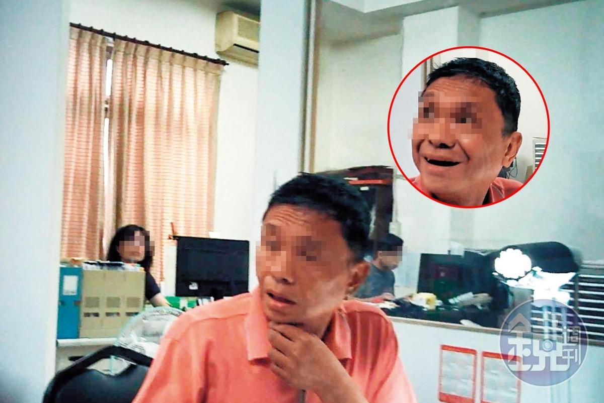 寶慶協會張姓負責人對記者原本十分提防(左下圖),但聽到要印製大量立委選舉的文宣品,立刻笑臉迎人(右上圖)。