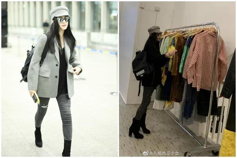 昨(8日)有粉絲在紐約巧遇范冰冰在逛街(右圖),今日她被目擊現身北京機場(左圖),疑似為拍攝好萊塢片《355》出國,完成工作後返回北京。(左圖東方IC、右圖翻攝自微博)