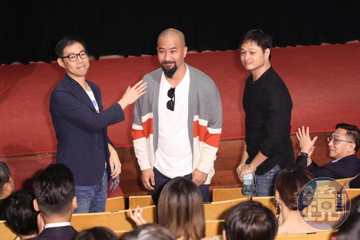 高雄電影節開幕嘉賓,導演林書宇(左起)、黃建瑋、導演鄭有傑。