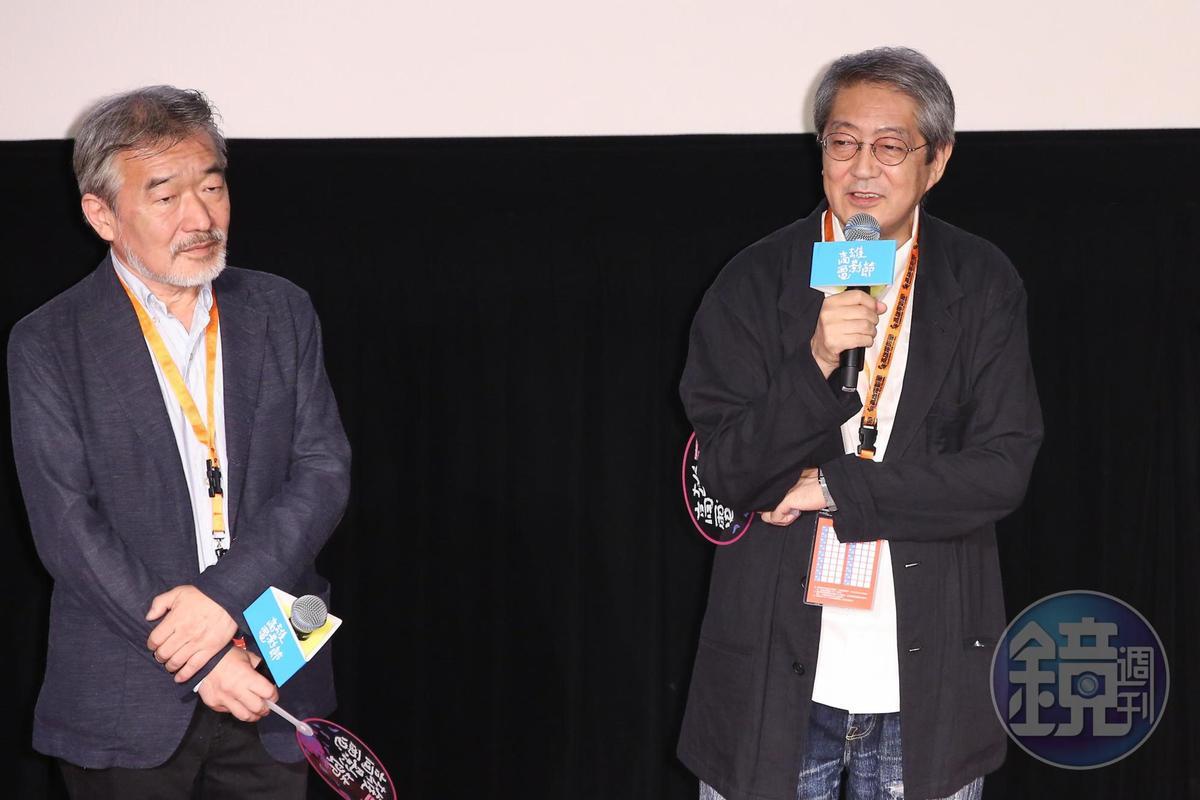 開幕片《火口的二人》導演荒井晴彥(右)與製片。