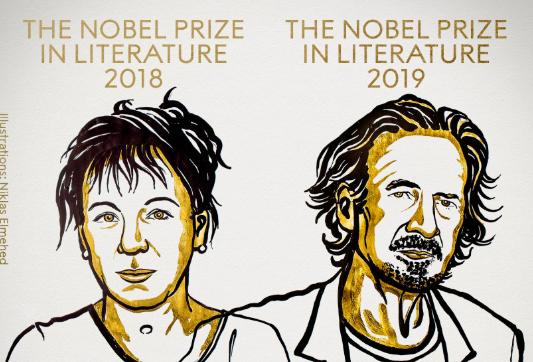 2018及2019年諾貝爾得主分別為波蘭小說家朵卡萩和奧地利小說家漢德克。