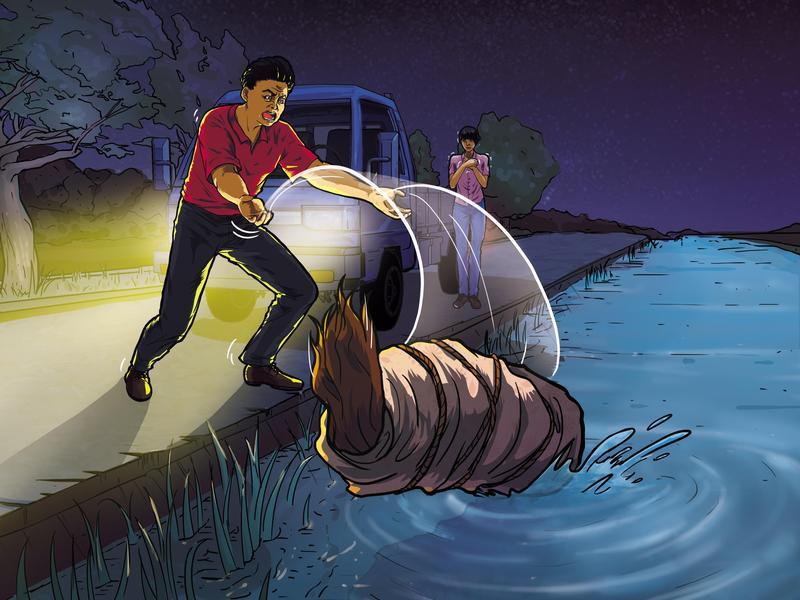 沈聯旺將羅愛珍棄屍彰化和美大排,之後他不斷恐嚇謝女:「要把你丟掉」。