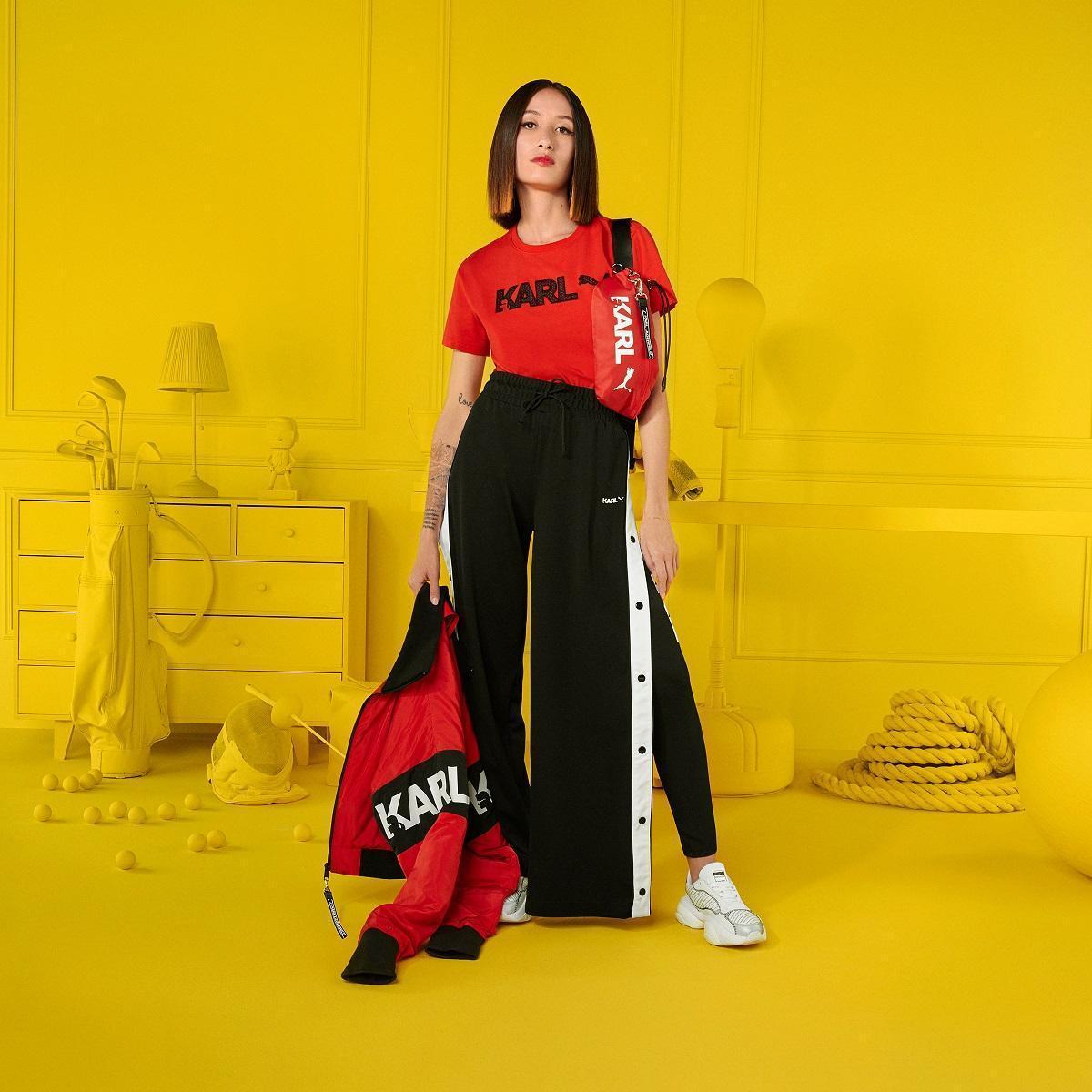 PUMA SELECT x KARL LAGERFELD聯名系列短袖T-Shirt NT$1,780、側開長褲NT$4,180。(PUMA提供)