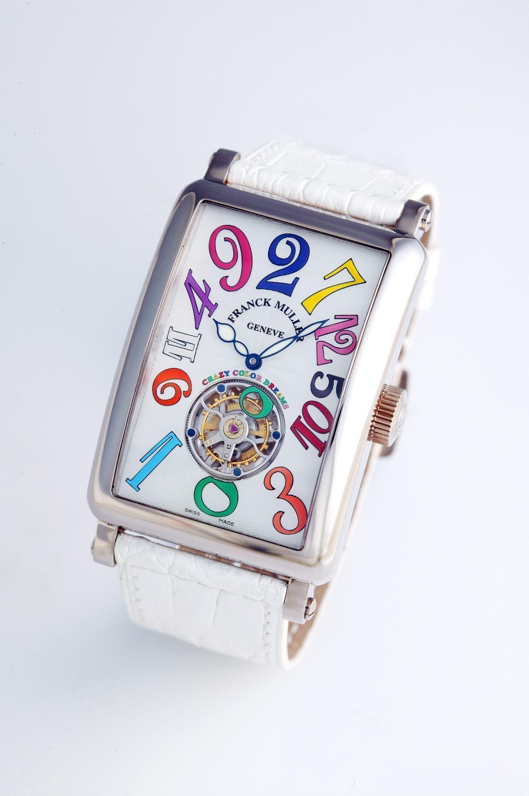 微風南山FRANCK MULLER 1300 Crazy Hours彩色數字白K金陀飛輪腕錶  6,326,000元。