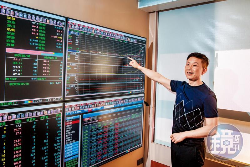 股市中實戶林適中書房裡有一整面電視牆,隨時可掌握股價行情。
