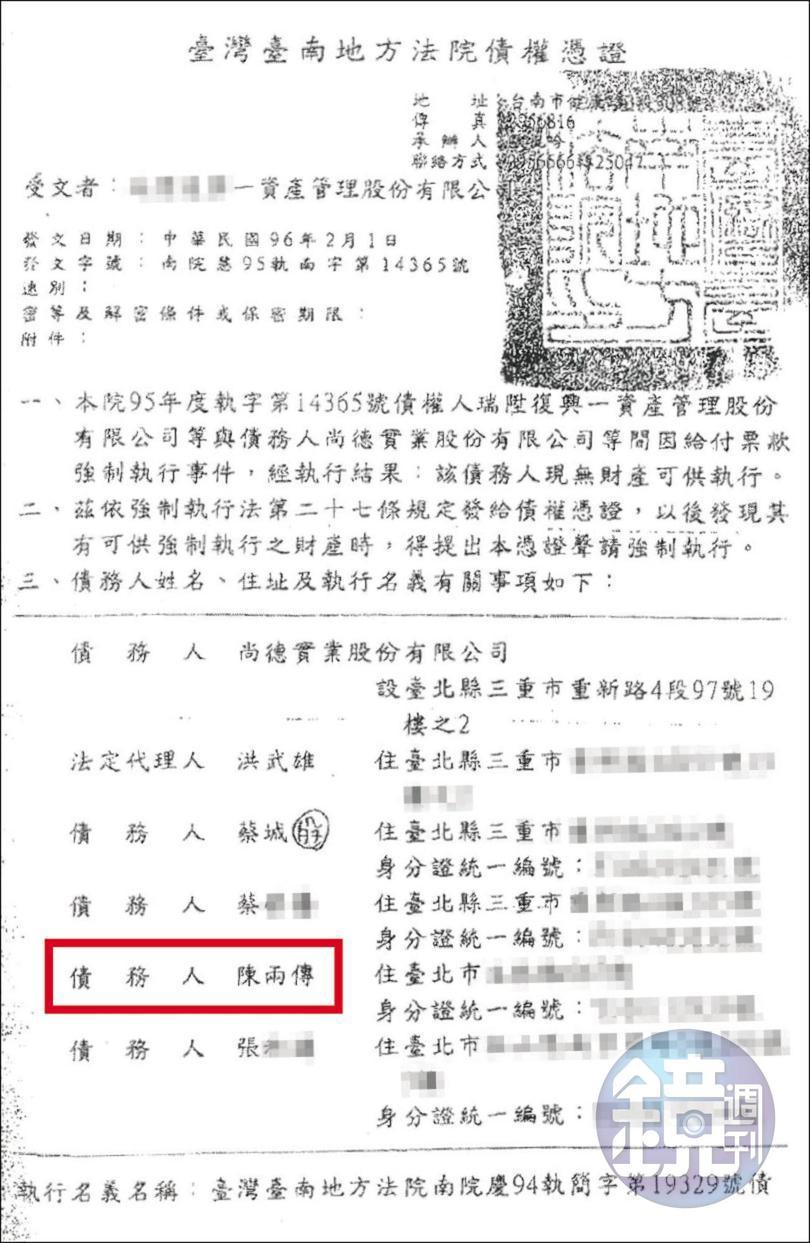 法院發出的債權憑證中,陳兩傳(紅框處)也被列為債務人。