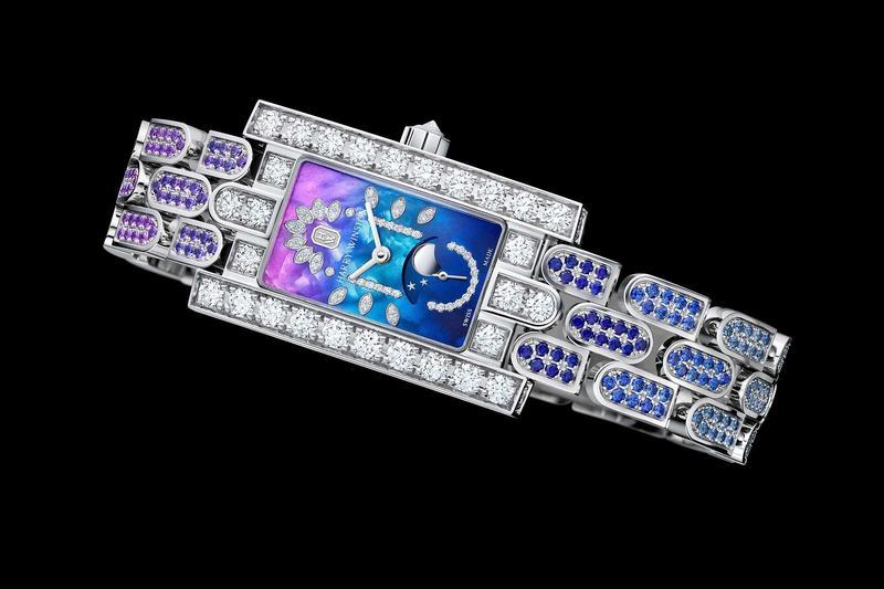 慶祝第五大道系列問世20週年,海瑞溫斯頓推出限量版月相腕錶,錶款運用大量鑽石與寶石鑲嵌,詮釋出紐約的日與夜。