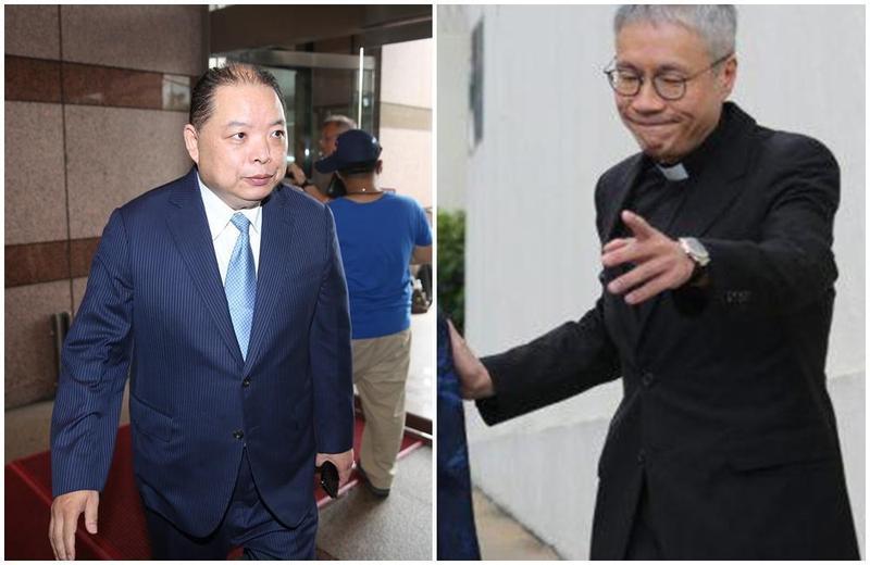 管浩鳴(右)9月來台時,以香港聖公會領導人身份,聯繫同為宗教界大老的黃承國(左),以宗教交流的名義相約,並請其安排與內政部長見面。(右圖翻攝自網路直播)