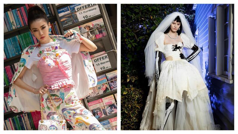 謝金燕早在上個月米蘭時裝週期間,就搶先穿上MOSCHINO的鬼影系列。(MOSCHINO提供)