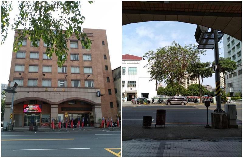 韓國瑜競選總部的大門正對一棵大樹,形成頂喉煞。(翻攝畫面)