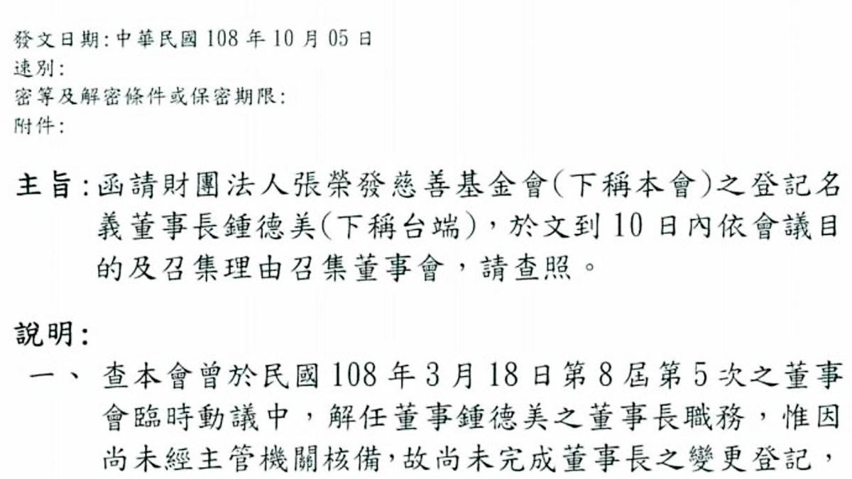 張國政發文給衛福部,要拉下張榮發慈善基金會董事長鍾德美。