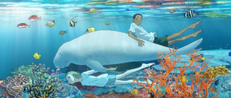 《海獸之子》藉由一對由儒艮撫養長大的兄弟「海」與「空」,帶出生命、海洋和宇宙等龐大世界觀。(甲上娛樂提供)