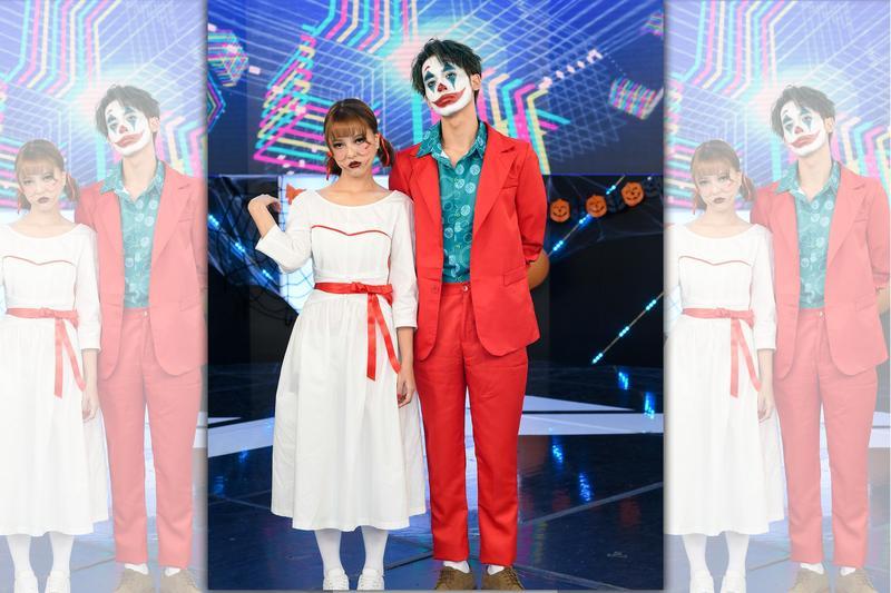 小樂(吳思賢)在粉絲見面會上扮起小丑,項婕如扮安娜貝爾。(三立提供)