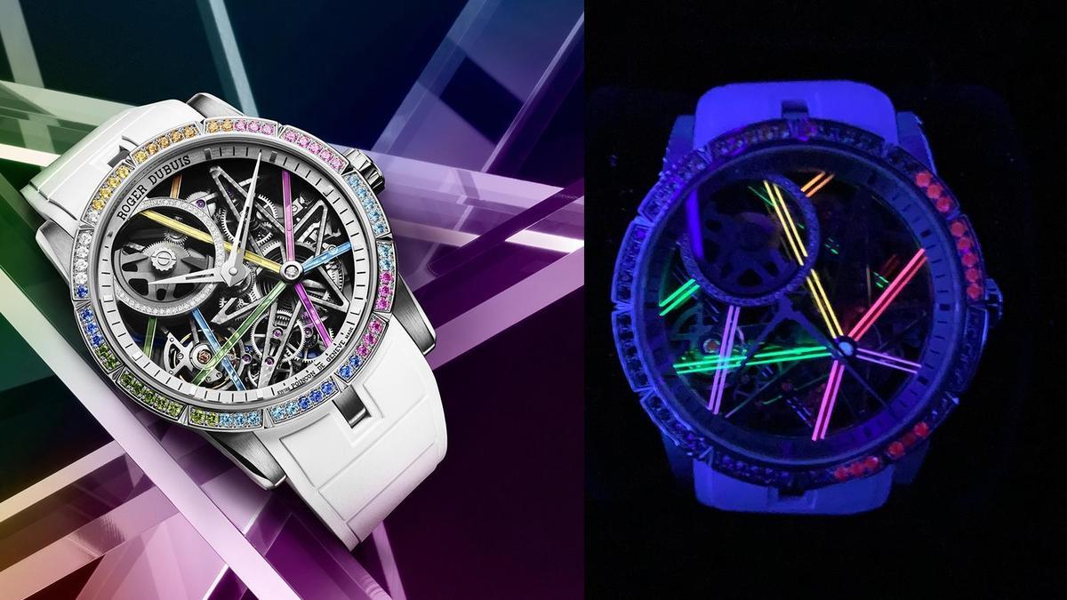 Excalibur Blacklight鏤空自動上鍊腕錶,錶徑42mm、18K白金材質、NT$ 3,872,000(亞洲限定版,限量28只)。