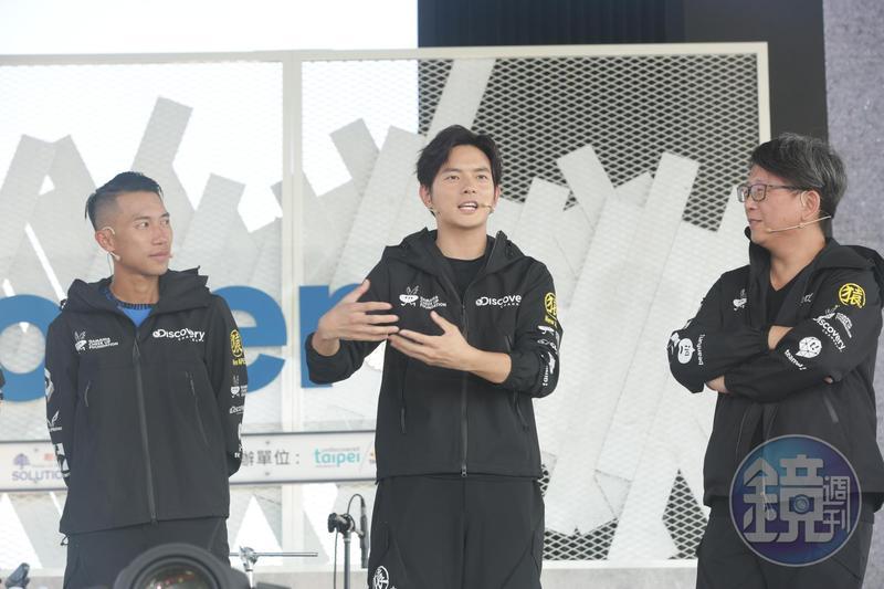 宥勝(中)提到遠征南極時,睡覺要記得抱尿袋,身為極地教練的陳彥博(左)以及負責全程拍攝的導演楊力州(右)。