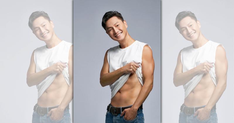 謝祖武曝光最新代言照,照片中單手扯開緊身背心大秀腹肌。(Laler提供)