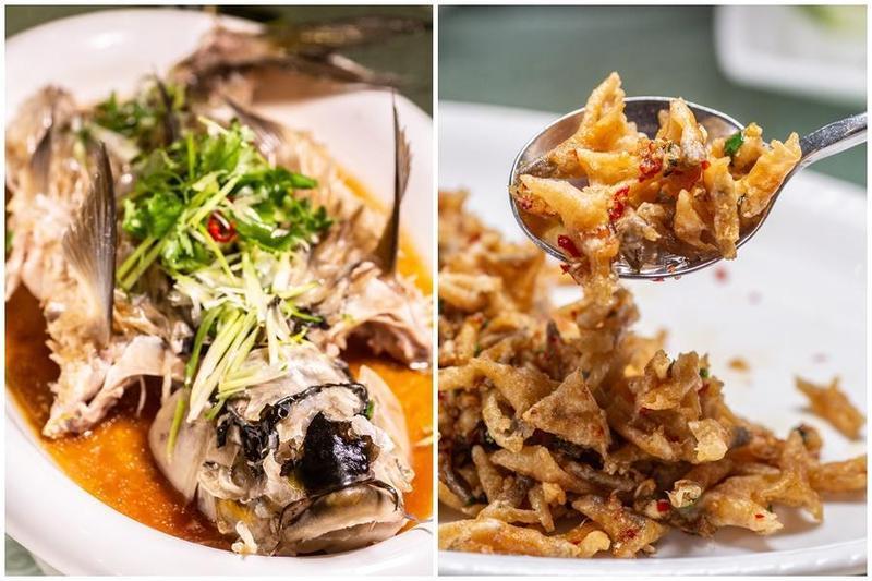 「清蒸忘不了」(左圖)要點3~4公斤以上,才嘗得到風車果的果香。忘不了可以選擇一魚兩吃,老闆超推薦「炸魚鱗」(右圖)。(一魚兩吃菜色之一,245汶萊元/份,約NT$5,635)