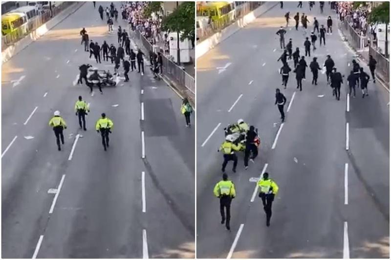 香港三罷示威,一名騎著重機的警員直接衝撞示威者,行動全程被民眾拍下。(翻攝Youtube)