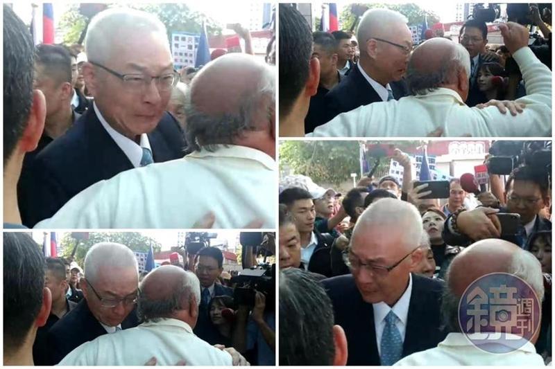 挺吳敦義的支持者在名單公布前,特地前往中央黨部替吳送暖,讓吳敦義當場哭成淚人兒。(讀者提供)