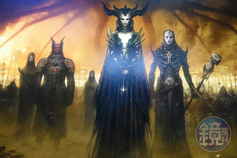 《暗黑破壞神4》終於在2019BlizzCon登場,血后莉莉絲正式回歸。圖為BlizzCon會場展出《暗黑4》的美術圖。