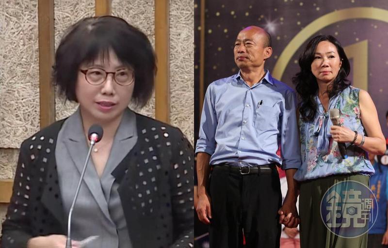 韓國瑜遭週刊踢爆失業卻能購買南港豪宅,其妻李佳芬的姐妹淘、高雄市觀光局主祕高美蘭(左圖)被點名是關鍵角色。(左圖翻攝自質詢畫面、右圖本刊資料照)