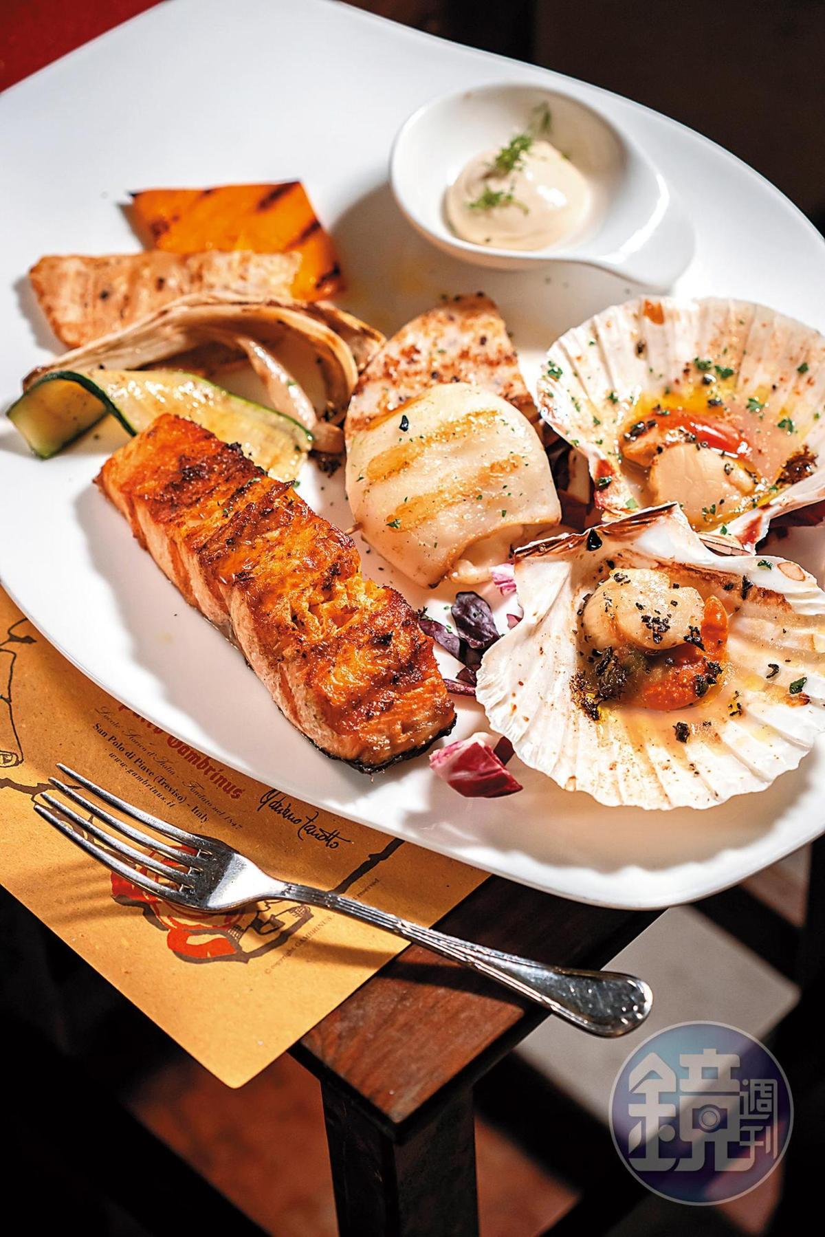 鮮活的烤海鮮份量十足,鮭魚油脂豐沛,適合搭配如Brut這類較不甜的Prosecco。