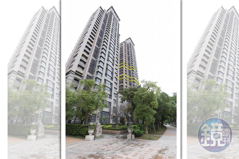 向心夫婦位於信義區豪宅冠德遠見,不只10樓2戶打通雙拼戶(黃框處),14樓也跟著曝光。