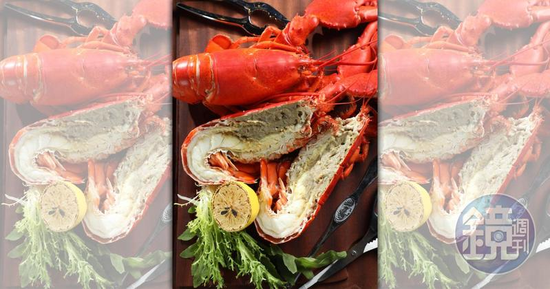 「漁夫式蒸煮加拿大野生龍蝦」膏脂濃郁、肉質爽彈。(1,680元套餐菜色)