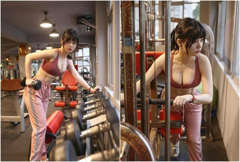 有網友在PTT表特版上貼出一系列甜美的健身女孩照,引起熱議。(翻攝PTT)