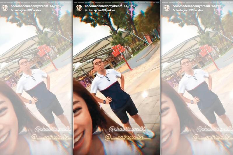 林千又(左)曾在IG上放上與趙元同共遊新加坡的自拍照,當時,已傳兩人有曖昧情。(翻攝自林千又IG)