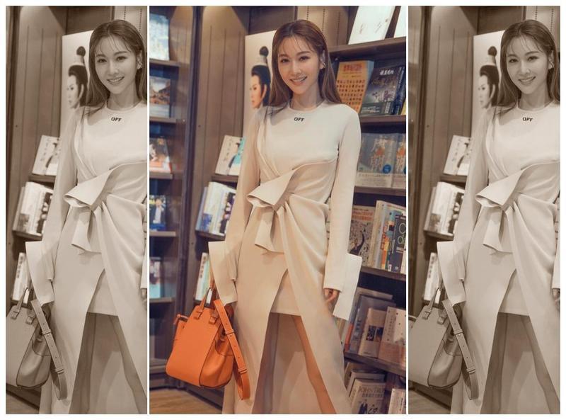 曾莞婷穿著Off-White洋裝搭配橘色Hammock包。(翻攝自曾莞婷IG)