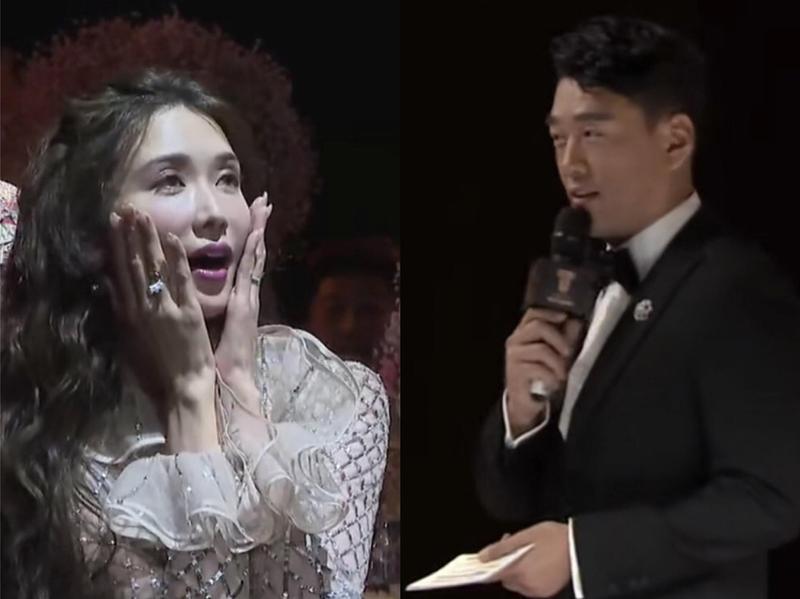 林志玲(左)婚後首度參加時尚活動,卻遭王耀慶(右)爆料肚子有喜。(翻攝自星扒鵝微博)