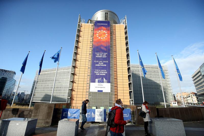 位於比利時布魯塞爾的歐盟執委會總部大樓外觀。(東方IC)