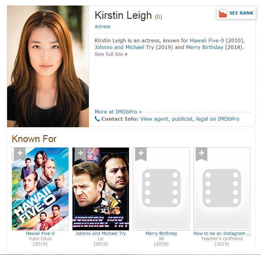 錦榮的新對象Kirstin Leigh,是韓裔女演員,曾演過美國電視劇《檀島警騎》第七季。(翻攝自IMDB)