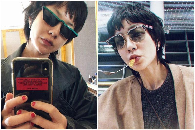 近日郭采潔出現在北京機場,一頭捲髮加上方型臉,眉毛看似只剩一半。(翻攝自郭采潔微博)