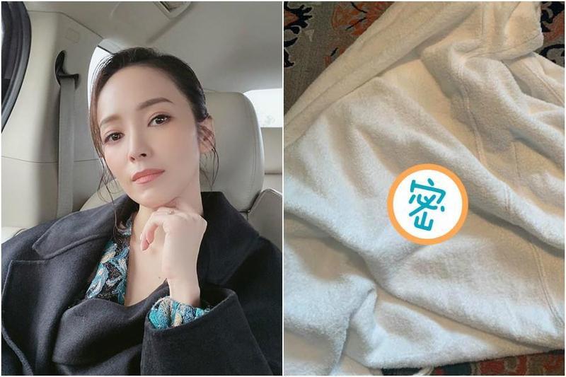 侯佩岑昨(12日)入住上海某間飯店,準備穿上飯店浴袍時,卻發現一張沾有血漬的衛生紙黏在浴袍裡。(翻攝自侯佩岑 Patty Hou臉書)