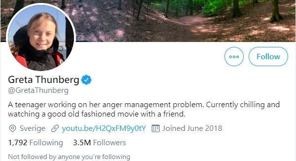 桑柏格也幽默把推特自我介紹改成「正在解決情緒管理問題的青少年」。(翻攝Greta Thunberg推特)